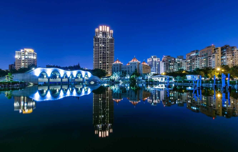 Фото обои небо, ночь, город, lights, отражение, река, дома, освещение, Тайвань, архитектура, синее, river, sky, blue, night, …