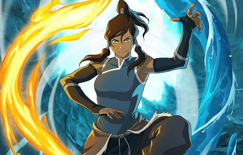 Фото обои вода, огонь, стихия, магия, арт, Avatar, Аватар, Корра, Korra, The Legend of Korra, Аватар: Легенда …