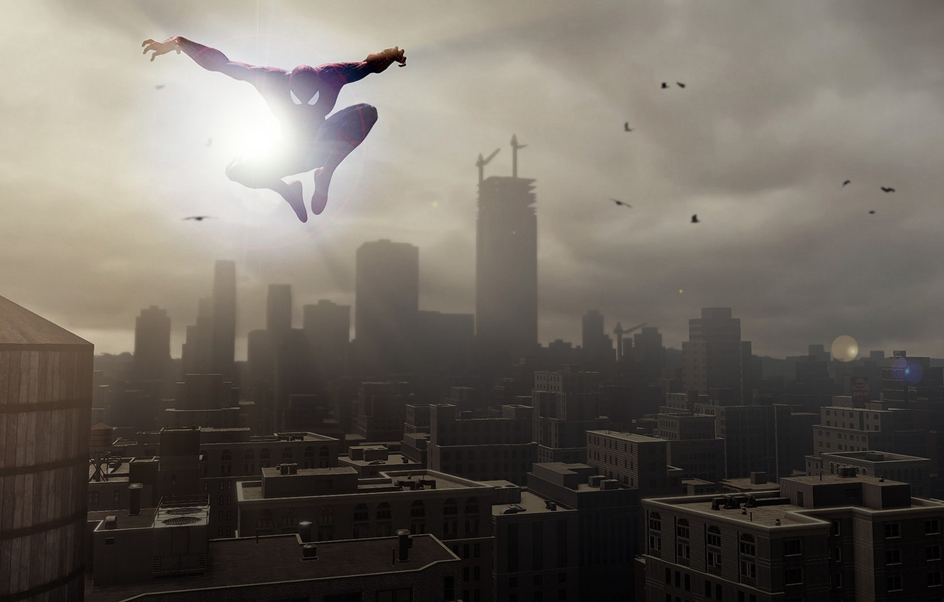 Фото обои red, white, sunset, jump, blue, speed, playstation, skies, spiderman, ps4, playstation 4