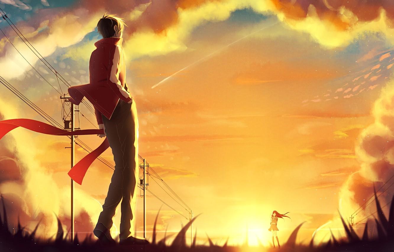 Фото обои небо, девушка, солнце, облака, закат, столбы, провода, аниме, шарф, арт, парень, kagerou project, p.rupon, tateyama …