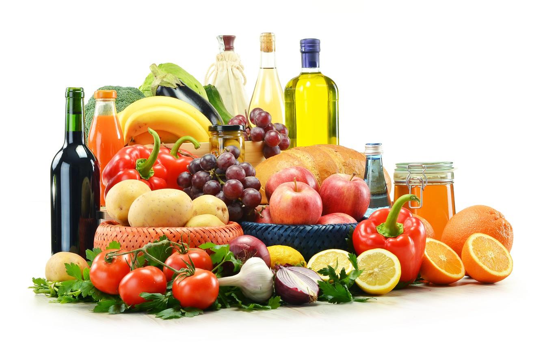 Фото обои зелень, вино, яблоки, масло, лук, сок, хлеб, виноград, баклажаны, бананы, перец, фрукты, мёд, овощи, помидоры, …