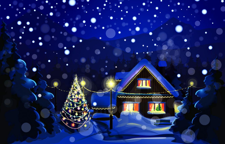 Фото обои зима, снег, пейзаж, ночь, природа, праздник, елка, дома, Новый Год, Рождество, Christmas, New Year, елочные