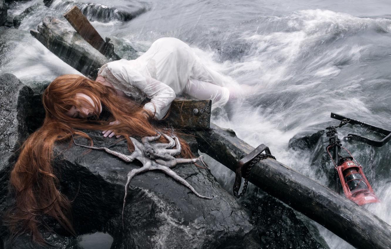 Фото обои octopus, conceptual, castaway, Shipwrecked