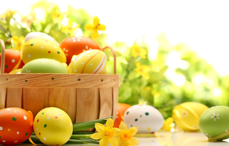 Фото обои цветы, стол, праздник, корзина, яйца, весна, желтые, зеленые, Пасха, оранжевые, нарциссы, Easter, пасхальные