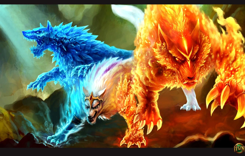 Фото обои лед, огонь, волк, hon, Heroes of Newerth, Gemini