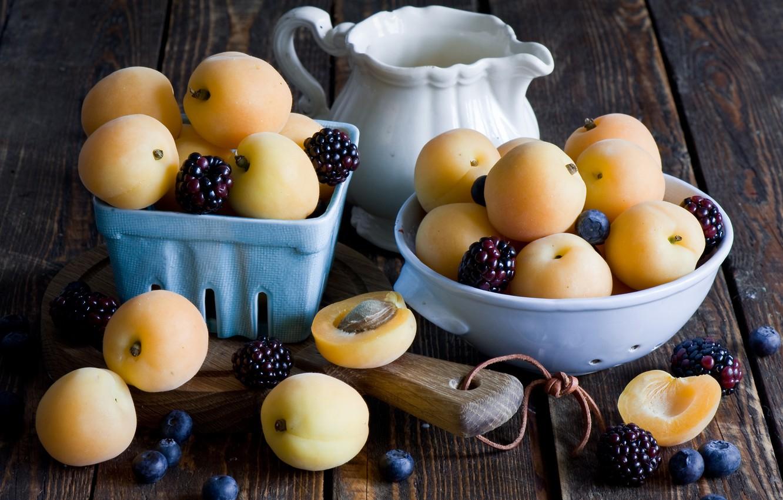 Фото обои food, ежевика, абрикосы, blackberry, milk, apricots, Anna Verdina