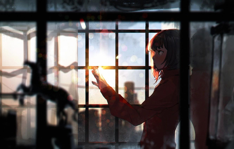 Фото обои девушка, закат, аниме, окно, арт, sumiobunnya