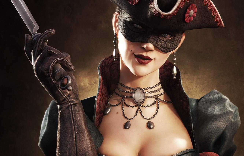 Фото обои грудь, взгляд, девушка, улыбка, шляпа, ожерелье, маска, губы, нож, перчатки, родинка, убийца, ассасин, multiplayer, треуголка, ...