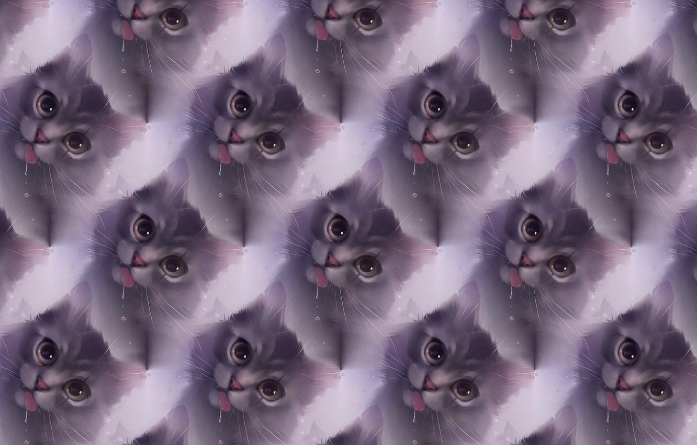 Фото обои кошка, настроение, текстура, арт, apofiss, шалун
