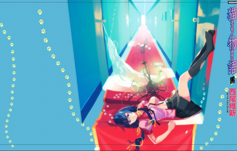 Фото обои следы, двери, коридор, люстра, иероглифы, лежит, школьница, гольфы, красная, белое платье, косы, Bakemonogatari, Hanekawa Tsubasa, …