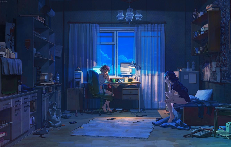 Фото обои компьютер, ночь, комната, девочки, вещи, лампа, телевизор, арт, напитки, подруги, полки