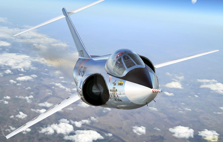 Обои Lockheed, истребитель-перехватчик, рисунок, starfighter, F-104. Авиация foto 9
