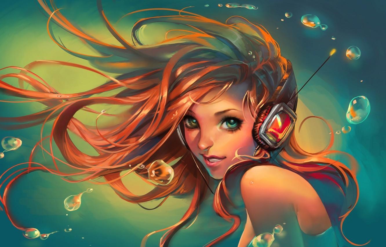 Фото обои взгляд, вода, девушка, улыбка, наушники, art, sakimichan