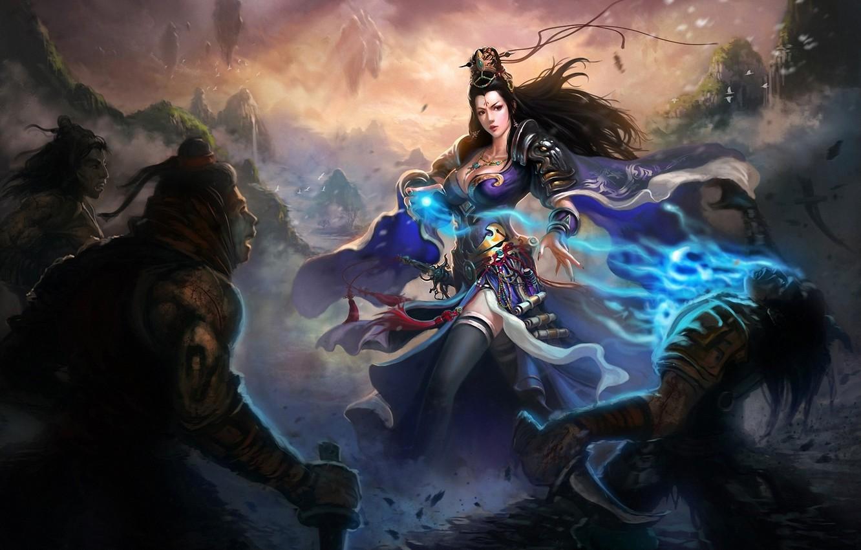 Фото обои девушка, оружие, магия, войны, арт, нож, нападение, мужчины, Liang xing