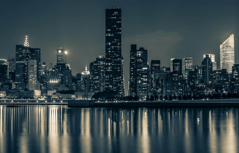 Обои new york, manhatten, ночь. Города foto 8