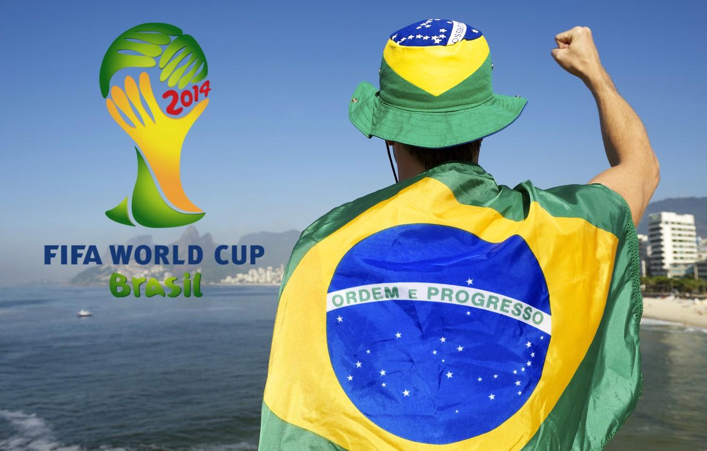 Фото обои футбол, logo, Бразилия, football, flag, кубок мира, World Cup, Brasil, FIFA, fan, 2014, болельщик