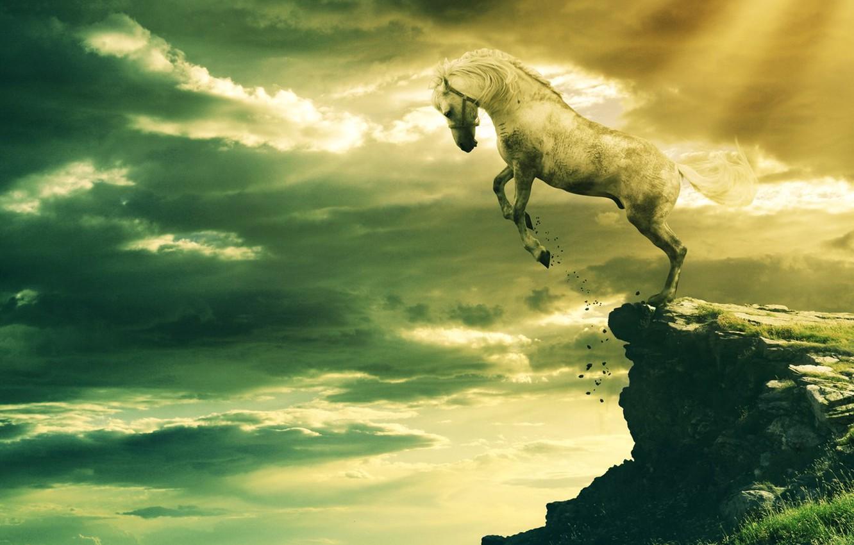 Фото обои Скала, Rock, белый конь, White Horse