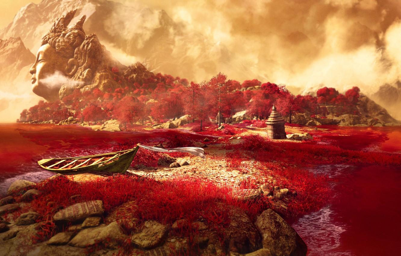 Фото обои трава, горы, озеро, Far Cry 4, кират
