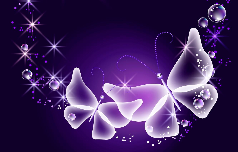 Обои sparkle, butterflies, Abstract, неоновые, Purple, glow. Абстракции foto 11