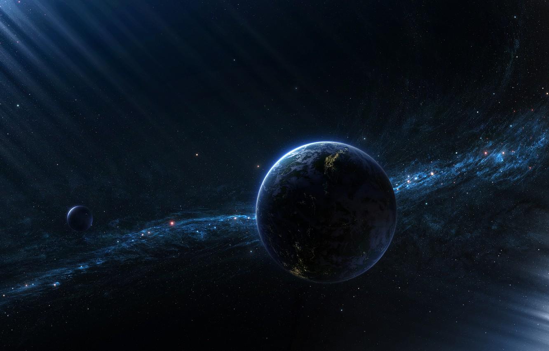 Фото обои луна, планета, спутник, звездное скопление