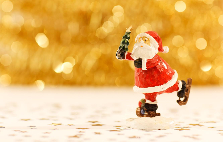 Фото обои Рождество, Новый год, Санта Клаус, фигурка, боке, на коньках