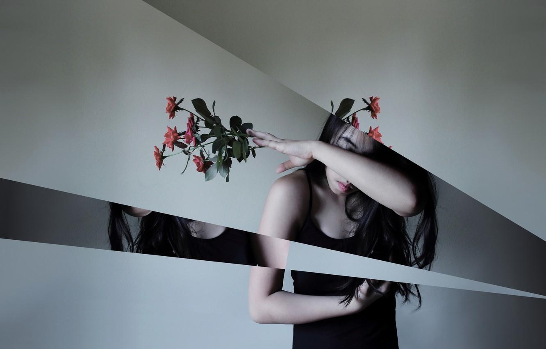 Фото обои девушка, цветы, стиль