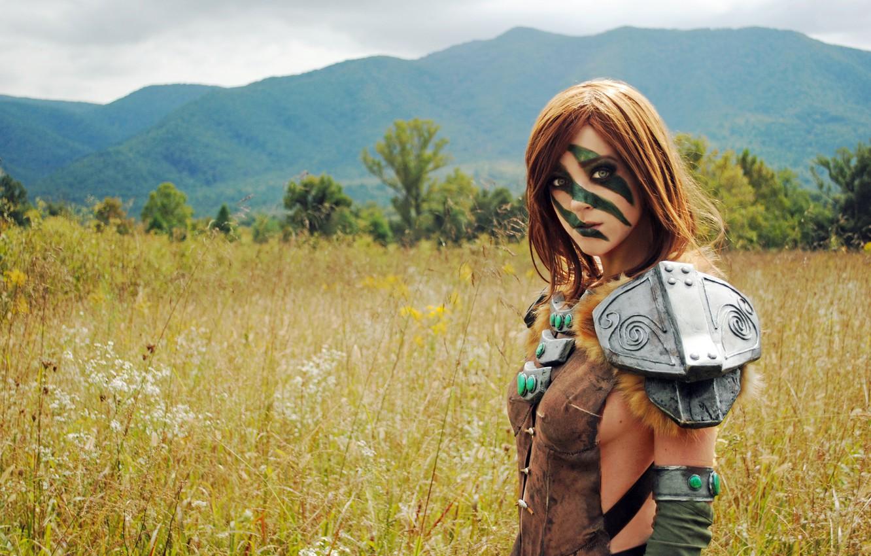 Фото обои воительница, косплей, Women, The Elder Scrolls V: Skyrim, Cosplay, Эйла, Aela, Huntress, April Gloria