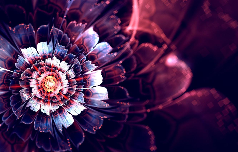 Фото обои цветок, лучи, абстракция, графика, свечение, фрактал