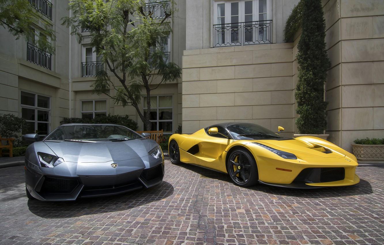 Фото обои Lamborghini, Ferrari, Lamborghini Aventador, Ferrari LaFerrari