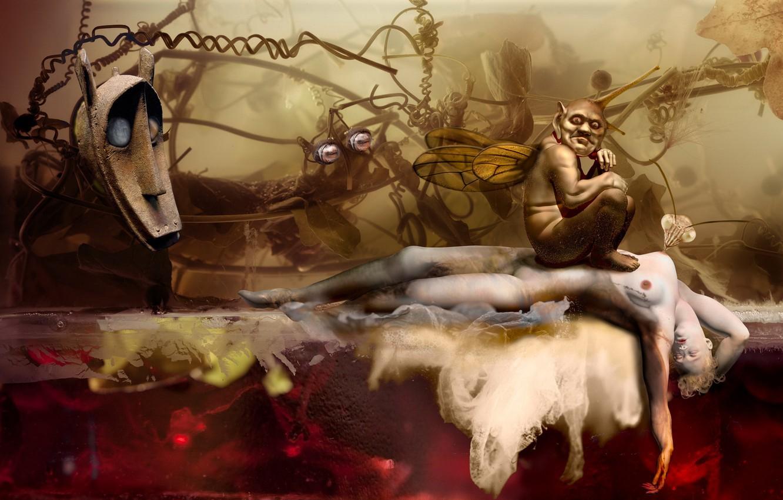 Фото обои monster, wings, mask, foliage, african, manipulation