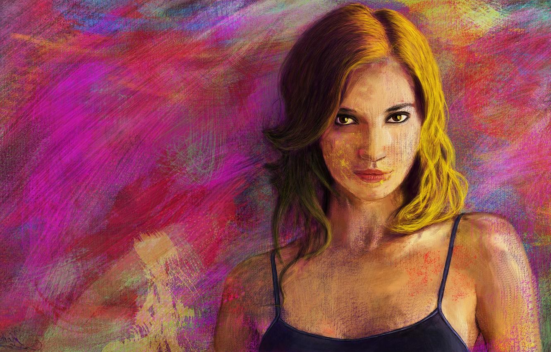 Фото обои девушка, лицо, яркие, рисунок, портрет, арт, текстуры, импрессионизм, art, digital art, phothoshop
