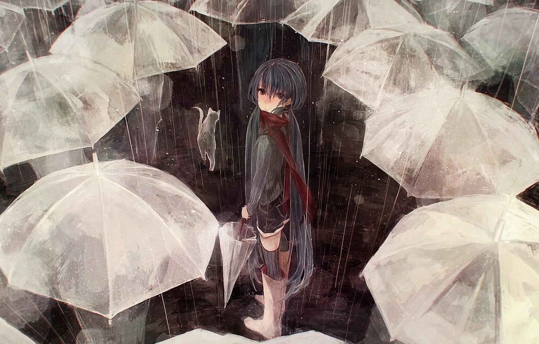 Фото обои кошка, кот, люди, дождь, толпа, зонт, арт, зонтики, vocaloid, hatsune miku