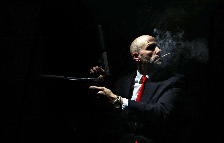 Фото обои оружие, фон, человек