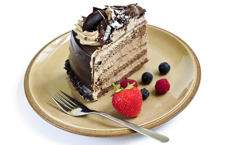 Фото обои малина, шоколад, черника, клубника, тарелка, торт, пирожное, вилка, cake, крем, десерт, выпечка, тортик, сладкое, chocolate, …