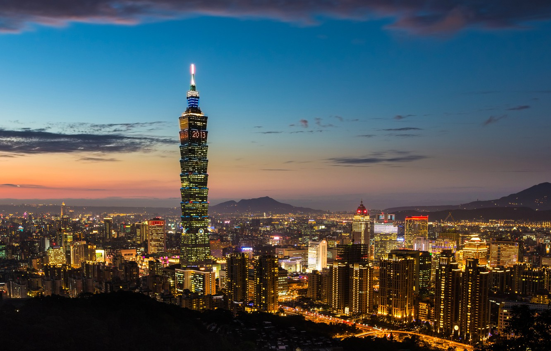 Фото обои закат, город, огни, вид, здания, небоскреб, вечер, панорама, Тайвань, Тайбэй, Taiwan, Китайская Республика, Taipei 101