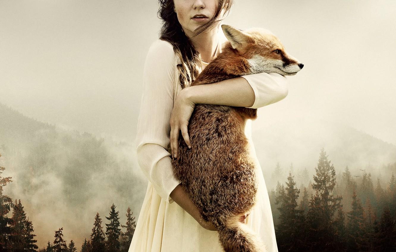 Фото обои лес, девушка, арт, лиса