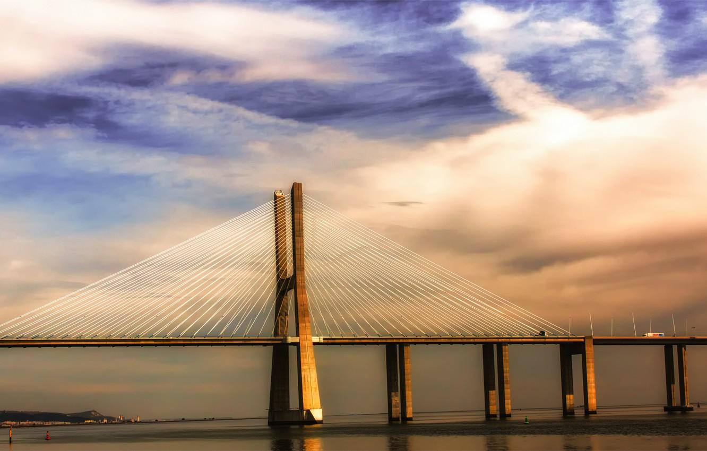 Фото обои небо, облака, тучи, мост, река, Португалия, синее, Лиссабон, Portugal, Тежу, Lisbon