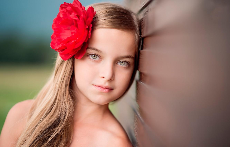 Фото обои цветок, волосы, портрет, девочка, боке