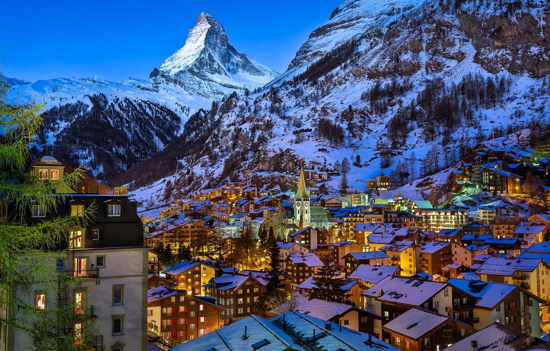 Обои швейцария, swiss alps, zermatt, долина, дома, альпы. Пейзажи foto 7