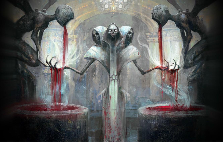 Фото обои смерть, кровь, скелет, черепа, алтарь, жертвоприношение, Magic the Gathering