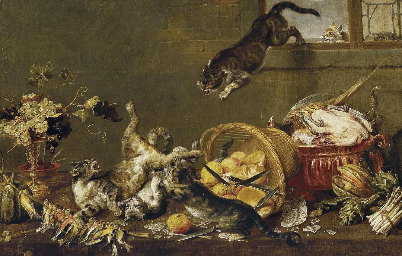 Фото обои кошки, птица, корзина, коты, драка, фрукты, ножи, овощи, фламандская живопись, XVII век