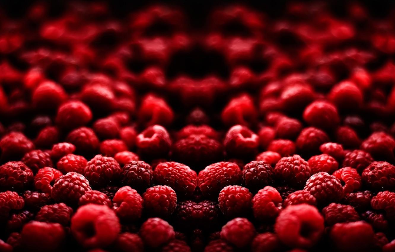 Фото обои малина, Макро, ягода, красная, боке