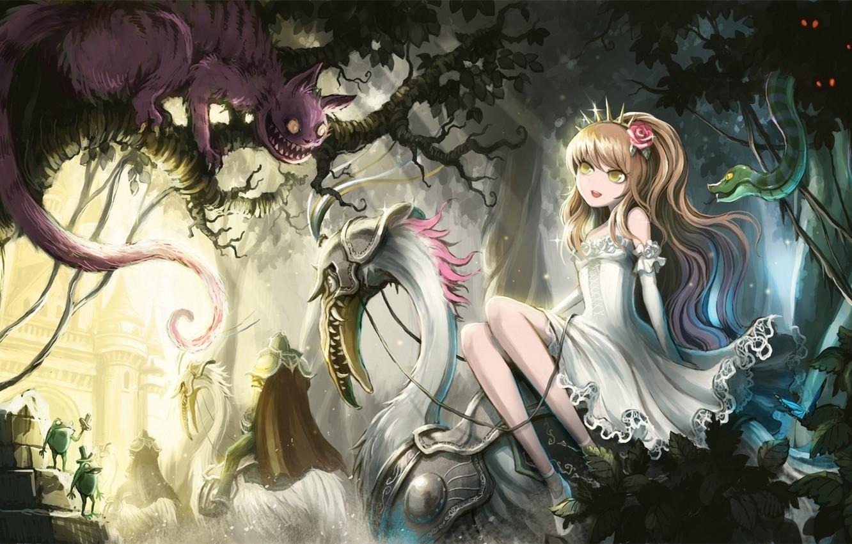 Фото обои кот, девушка, деревья, бабочка, змея, аниме, арт, лягушки, алиса в стране чудес, alice, alice in …