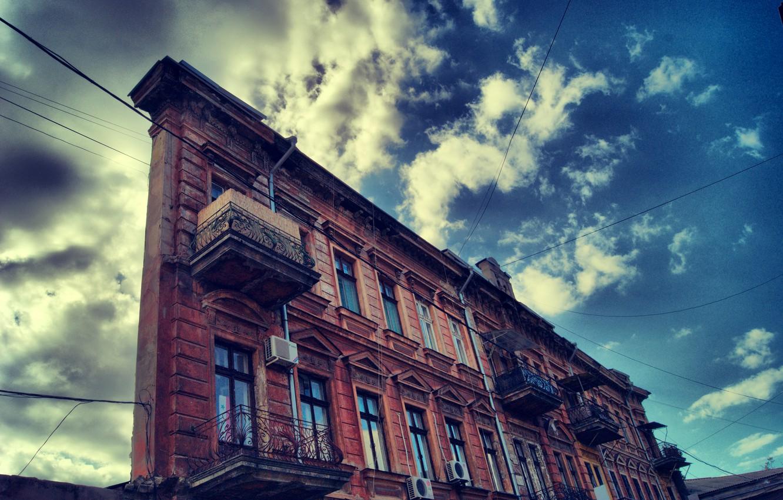 Фото обои небо, здание, Одесса, дом одной стены