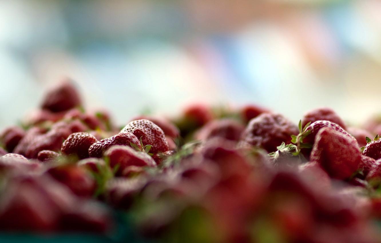 Фото обои макро, ягоды, клубника