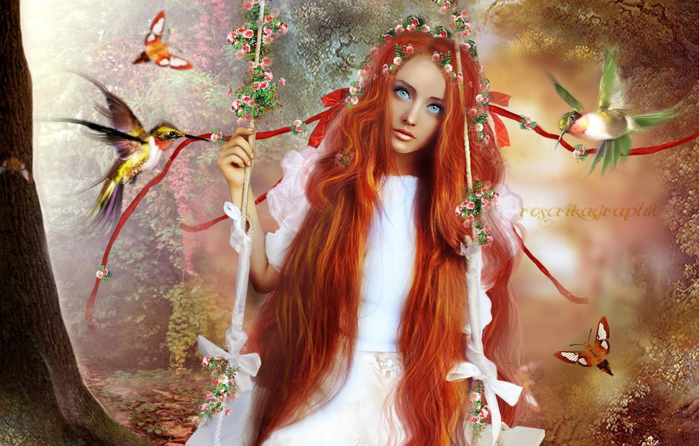 Фото обои взгляд, девушка, деревья, бабочки, цветы, птицы, лицо, качели, волосы, арт, рыжая, голубые глаза, длинные