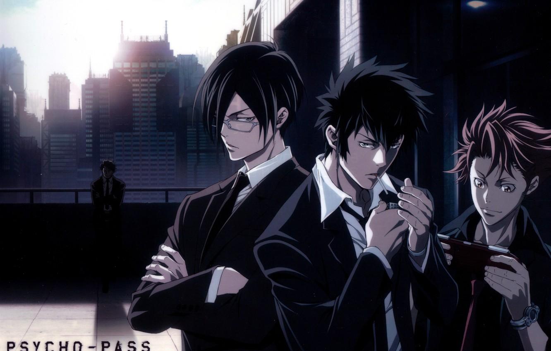 Фото обои небоскребы, очки, парни, черный костюм, сыщики, Ginoza Nobuchika, Psycho-pass, Shinya Kougami, Kagari Shuusei