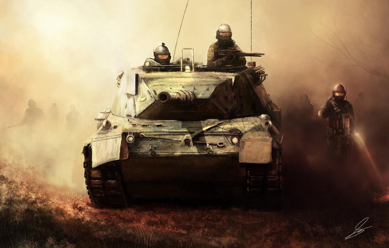 Фото обои туман, оружие, арт, солдаты, танк, военные, invasion