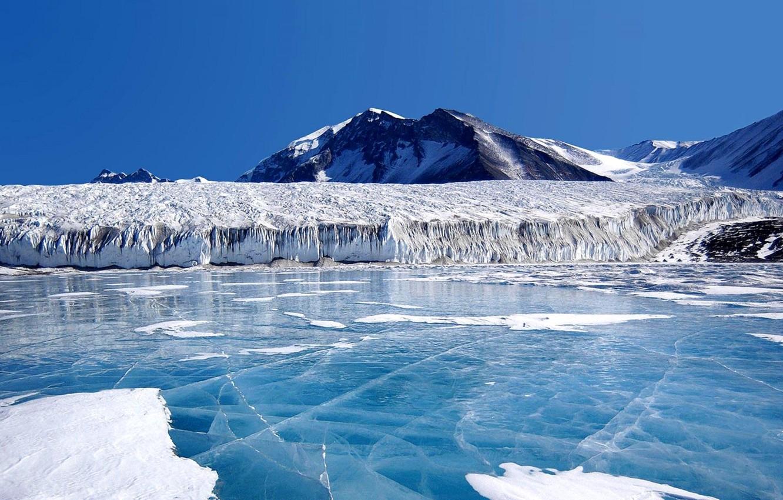 Фото обои лед, небо, горы, озеро, ледник