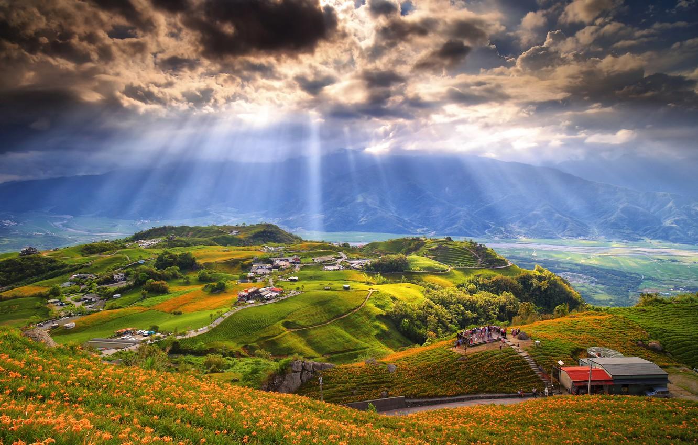 Обои дома, долина, тучи. Пейзажи foto 15
